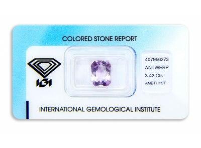 ametyst 3.42ct purplish pink s IGI certifikátem