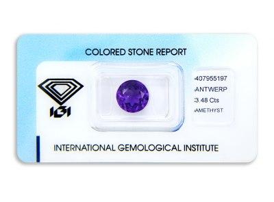 ametyst 3.48ct deep purple s IGI certifikátem