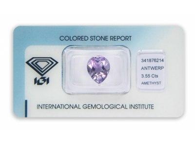 ametyst 3.55ct purple s IGI certifikátem