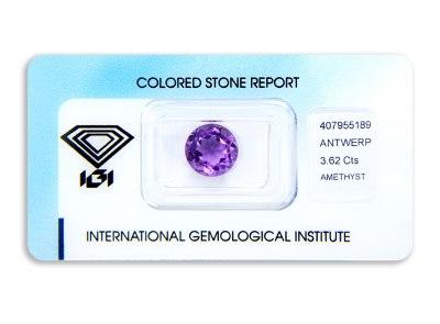 ametyst 3.62ct purple s IGI certifikátem