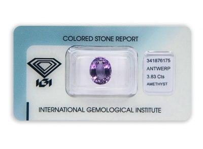 ametyst 3.83ct purple s IGI certifikátem
