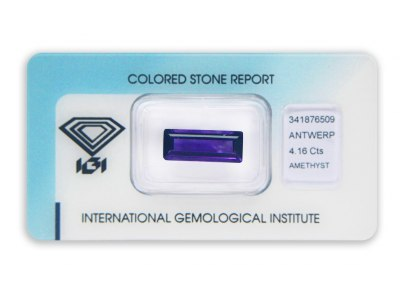 ametyst 4.16ct deep purple s IGI certifikátem