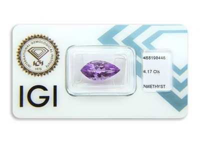ametyst 4.17ct pinkish purple s IGI certifikátem