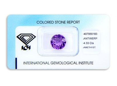 ametyst 4.33ct purple s IGI certifikátem