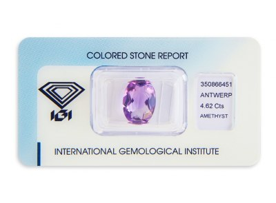 ametyst 4.62ct pinkish purple s IGI certifikátem