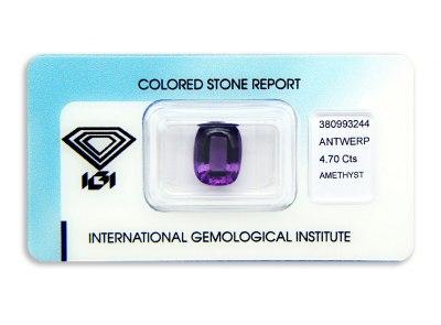 ametyst 4.70ct pinkish purple s IGI certifikátem