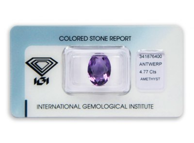 ametyst 4.77ct purple s IGI certifikátem