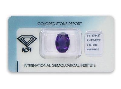 ametyst 4.83ct purple s IGI certifikátem