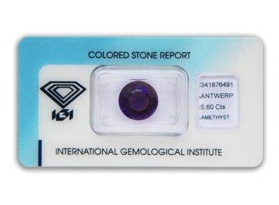 ametyst 5.60ct deep purple s IGI certifikátem