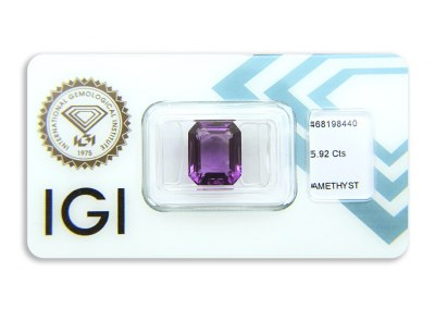 ametyst 5.92ct pinkish purple s IGI certifikátem