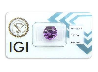 ametyst 6.23ct pinkish s IGI certifikátem