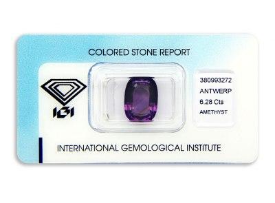 ametyst 6.28ct purple s IGI certifikátem