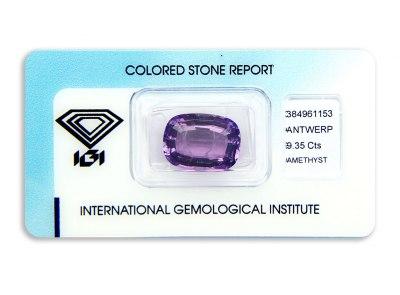 ametyst 9.35ct pinkish purple s IGI certifikátem