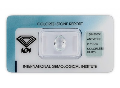 bezbarvý beryl 2.71ct colorless s IGI certifikátem