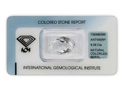 bezbarvý beryl 9.58ct colorless s IGI certifikátem