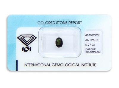 chrom turmalín 0.77ct dark yellowish green s IGI certifikátem