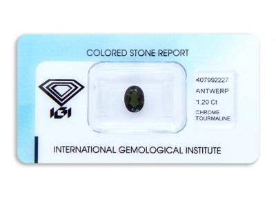 chrom turmalín 1.20ct dark yellowish green s IGI certifikátem