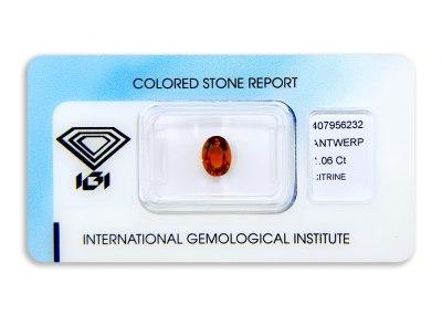 citrín 1.06ct yellowish orange s IGI certifikátem