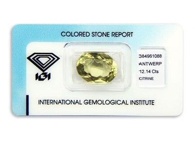 citrín 12.14ct greenish yellow s IGI certifikátem