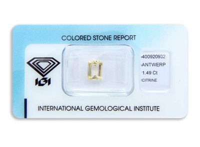 citrín 1.49ct yellow s IGI certifikátem