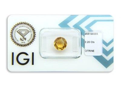 citrín 2.20ct yellowish orange s IGI certifikátem