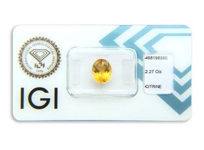 citrín 2.27ct yellowish orange s IGI certifikátem