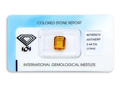 citrín 2.44ct yellowish orange s IGI certifikátem