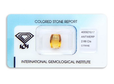 citrín 2.66ct yellowish orange s IGI certifikátem
