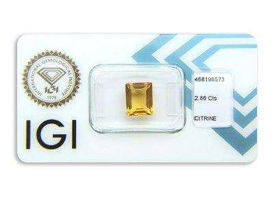 citrín 2.86ct yellow-orange s IGI certifikátem