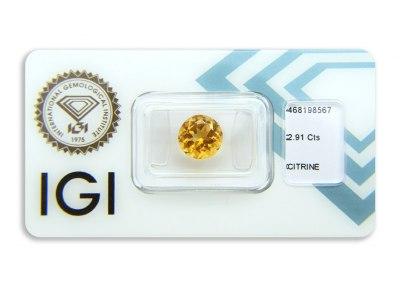 citrín 2.91ct yellowish orange s IGI certifikátem