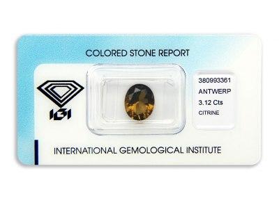 citrín 3.12ct brownish orange s IGI certifikátem