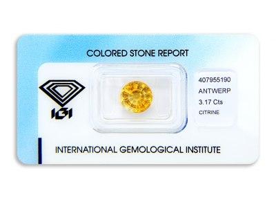 citrín 3.17ct yellow-orange s IGI certifikátem