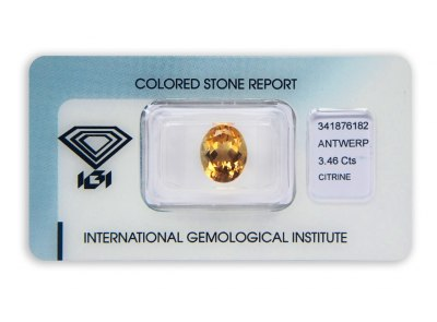 citrín 3.46ct yellowish orange s IGI certifikátem
