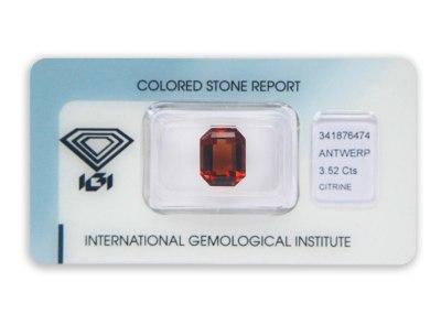 citrín 3.52ct brownish orange s IGI certifikátem