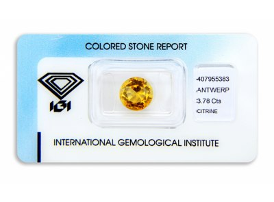 citrín 3.78ct yellowish orange s IGI certifikátem