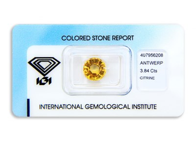 citrín 3.84ct yellowish orange s IGI certifikátem