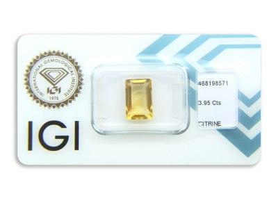citrín 3.95ct orangy yellow s IGI certifikátem
