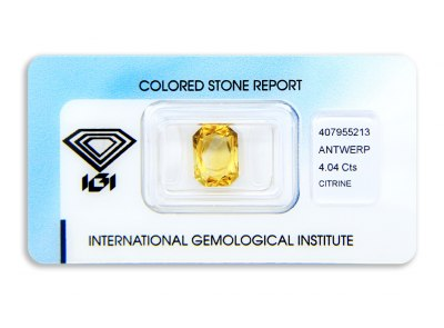 citrín 4.04ct orange yellow s IGI certifikátem