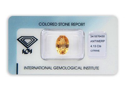 citrín 4.13ct yellow-orange s IGI certifikátem