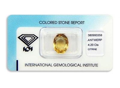 citrín 4.20ct yellow-orange s IGI certifikátem