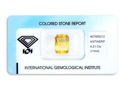 citrín 4.21ct orangy yellow s IGI certifikátem