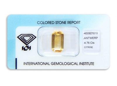 citrín 4.76ct yellow-orange s IGI certifikátem