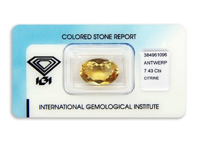 citrín 7.43ct yellowish orange s IGI certifikátem