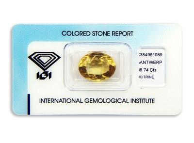 citrín 8.74ct yellowish orange s IGI certifikátem