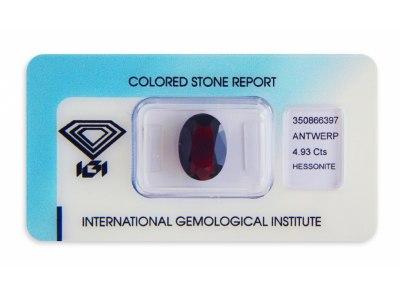 hesonit 4.93ct deep reddish brownish orange s IGI certifikátem