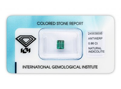 indigolit 0.86ct greenish blue s IGI certifikátem