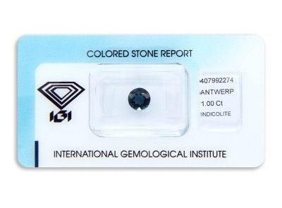 indigolit 1.00ct greenish blue s IGI certifikátem