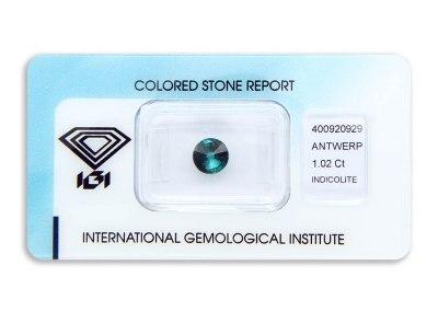 indigolit 1.02ct greenish blue s IGI certifikátem
