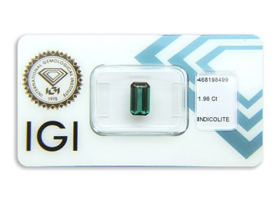 indigolit 1.96ct greenish blue s IGI certifikátem