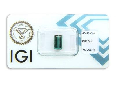 indigolit 2.35ct greenish blue s IGI certifikátem